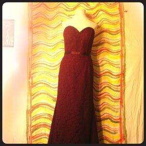 Mori Lee Madeline Gardner Maroon Lace Dress Size 8